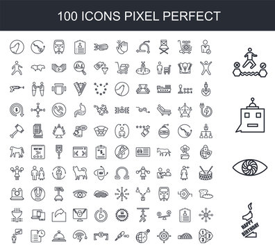100 line icon set. Trendy thin and simple icons such as 1st birthday, hypnosis, , attempt, user, igloo, gyroscope, daylight savings, cricket bat, dead end