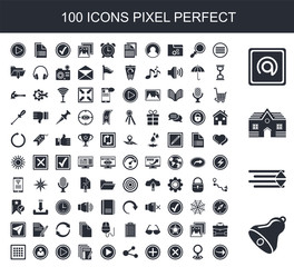 100 filled icon set. Trendy simple icons such as Bell, Sort down, House, Mail, Menu, Placeholder, Delete, Add, Share, Play button