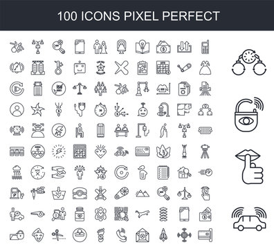 100 line icon set. Trendy thin and simple icons such as autonomous driving, hush, anti theft, bail, handphone, wan, stellar lumens, unsubscribe, tele, carbon footprint