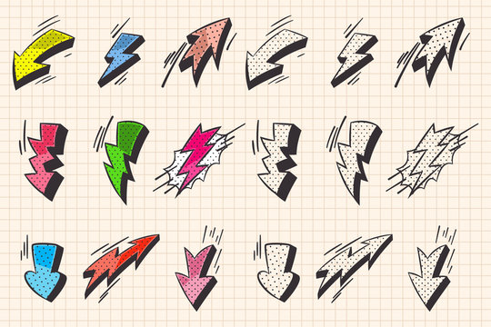Arrow and lightning flash comic book and doodle style elements. Vector cartoon icons set isolated on a notebook page background.