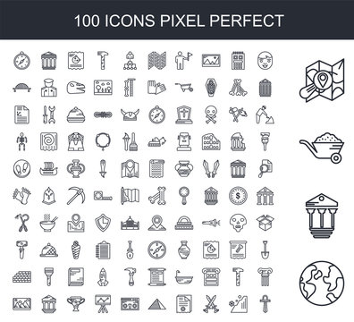 100 line icon set. Trendy thin and simple icons such as World, Pillars, Cart, Map, Face, Stone, Sword, Old paper, Egypt, Fossil