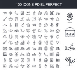 100 line icon set. Trendy thin and simple icons such as Plant, Sprout, house, Flower, Tractor, Carrots, Farmer, Egg, Windmill