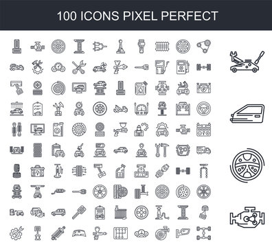 100 line icon set. Trendy thin and simple icons such as Engine, Steering, Car door, Hydraulic jack, Timing belt, Rearview mirror, Air filter, Dashboard, Gearshift, Spray paint