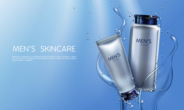 Vector 3d realistic cosmetics for men in blue water splashing. Ad poster, promo banner with silver gray jar with lotion, tube with cream.Mockup with moisturizer, skincare. Bottle with shaving liquid