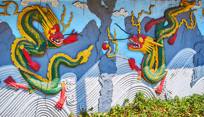 The dragon relief on Chinese Temple, Yangon, Myanmar