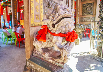 Imperial guardian lion of Chinese Temple, Yangon, Myanmar