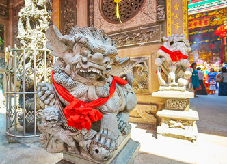 Guardian lions, decorated to Spring Festival, Qingfu Temple, Yangon, Myanmar