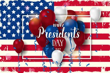 Happy Presidents day poster. National american holiday illustration with american flag, frame, serpentine and ballon. Hand made lettering. Greeting Background for holidays, postcards, websites