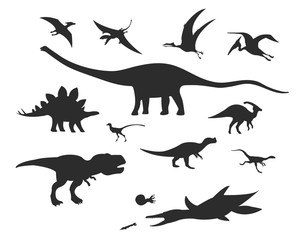 Set of silhouettes of different dinosaurs, land, underwater, flying