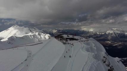Wall Mural - Aerial landscape view of Caucasus Mountains in winter in Sochi ski resort, Russia