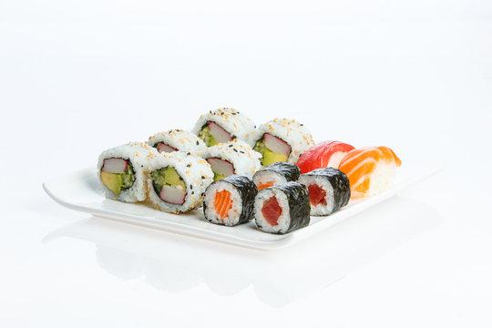 Isolated Sushi plate on white background