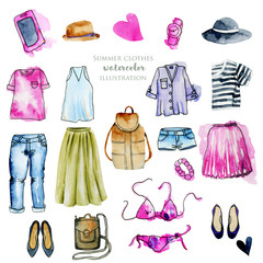 Watercolor women clothing illustration collection