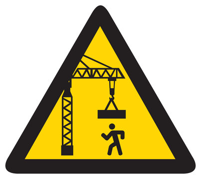 overhead crane crush hazard triangle warning sign