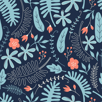 Hand drawn seamless pattern with tropical leaves and flowers. Perfect for kids fabric, textile, nursery wallpaper.