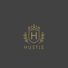 Initials letter h logo business vector template. Crown and shield shape. Luxury, elegant, glamour, fashion, boutique for branding purpose. Unique classy concept.