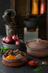 Indian Spices in Indian Kitchen
