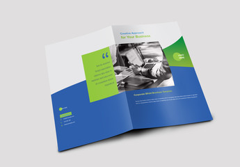 Bifold Brochure Layout with Blue and Green Accents