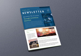 Newsletter Layout with Blue and Green Accents