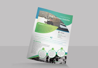 Flyer Layout with Rounded Shape Elements