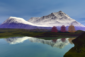 Reflection on the lake, an autumn landscape, beautiful trees, snowy mountain and a blue sky.