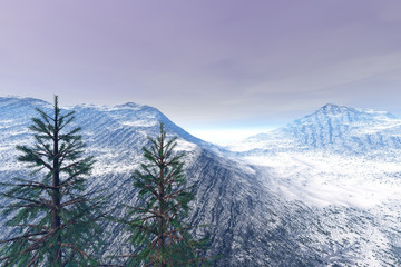 Snowy mountain, an alpine landscape, coniferous trees and cloudy sky.
