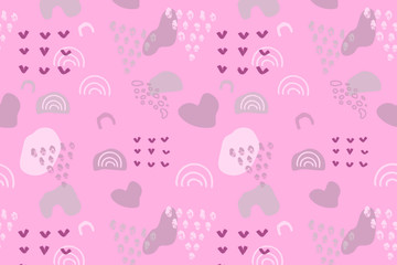 Pink abstract modern and stylish digital background with different shapes. Memphis pink pattern. Creative forms.