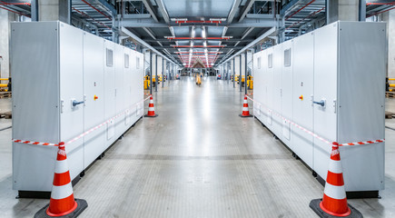 Electric control cabinet substation in a new factory plant