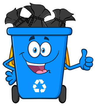Happy Blue Recycle Bin Cartoon Mascot Character Full With Garbage Bags Giving A Thumb Up. Vector Illustration Isolated On White Background