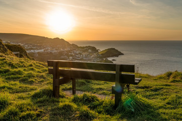 Bench with a view: Looking from Hillsborough Hill towards Ilfracombe, Devon, England, UK