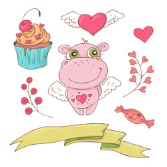 Set of cute cartoon hippo for Valentine s Day with accessories