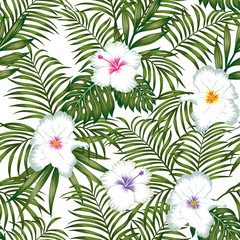 Exotic white flowers hibiscus and green leaves seamless