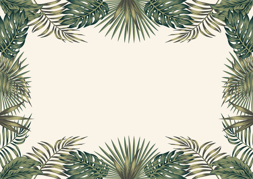 Green tropical border white background A4 layout