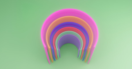 3d rendering. Multi-colored cut cylinders on the background of green canvas. Abstract illustration.
