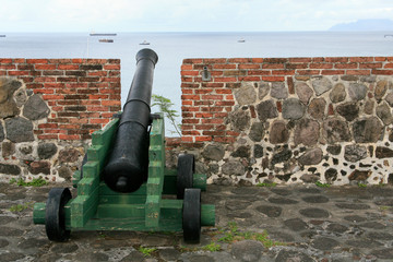 Canon at the Fort Orange on the island Sint Eusatius in the Caribbean