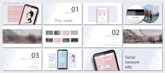 Schedule social networks. Minimal design of photo presentations from a mobile phone.Online landing page for login.Set. Elements, white background. Multipurpose slide template.Advertising,communication