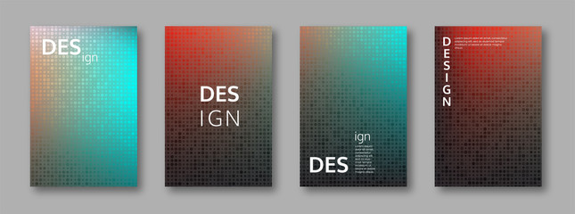 Set of abstract bright colors minimal cover design. Halftone effect, mosaic background. Vector illustration.