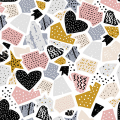 Seamless abstarct pattern with ink drawn shapes and textures. Creative fashion texture. Great for fabric, textile Vector Illustration