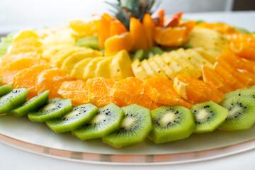 Fotobehang Assortiment Frutta fresca a mosaico