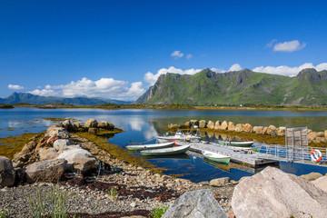 fjord and mountains in Vestvagoya island in Lofoten in Norway