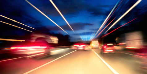 Driving on the highway at night