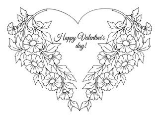 Vector illustration zentangl. Postcard for Valentine's greeting of flowers. Coloring book. Antistress for adults and children. Work done in manual mode. Black and white.