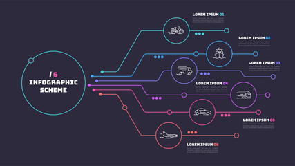 Thin line infographic scheme with 6 options. Vector template for