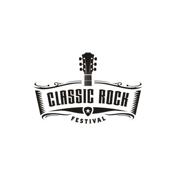 Classic Rock Country Guitar Music Vintage Retro Ribbon Banner logo design