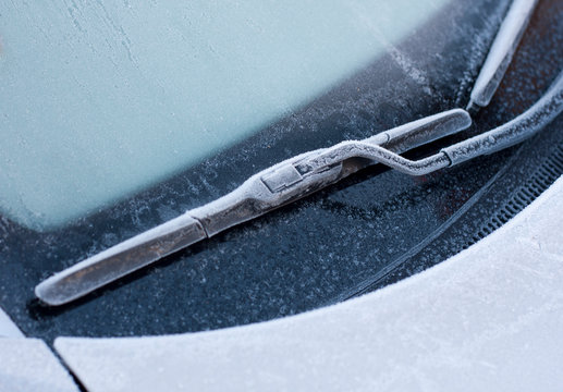 car wiper in winter snow