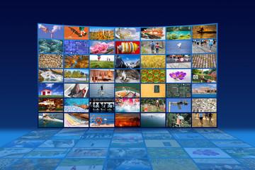 Big multimedia video wall widescreen Web streaming media TV