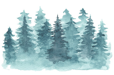 Beautiful watercolor background with mystery blue coniferous forest. Mysterious fir or pine trees in mist illustration for winter Christmas design, isolated on white background