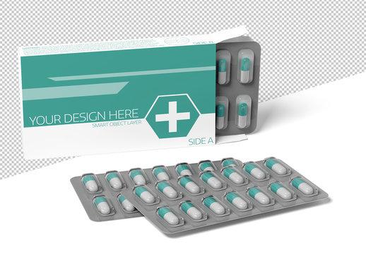 Pharmaceutical Packaging Mockup on White