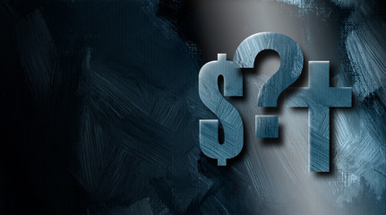 Graphic dollar sign Christian cross and Question mark background