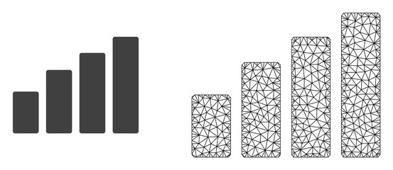 Polygonal mesh bar chart and flat icon are isolated on a white background. Abstract black mesh lines, triangles and nodes forms bar chart icon.