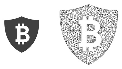 Polygonal mesh bitcoin protection and flat icon are isolated on a white background. Abstract black mesh lines, triangles and dots forms bitcoin protection icon.